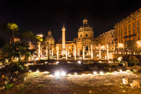 Church of the Holy Name of Mary at the Trajan Forum at night Rome Italy. Stock Photo