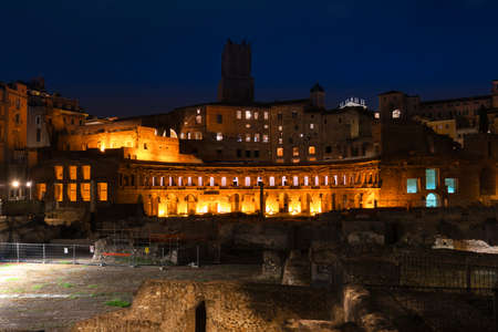 The ruins of shopping buildings on the forum of Trajan, Night view of the market of Trajan in Rome. Italy Stock Photo