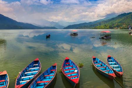 Beautiful boats in Phewa Lake Pokhara Nepal Reklamní fotografie