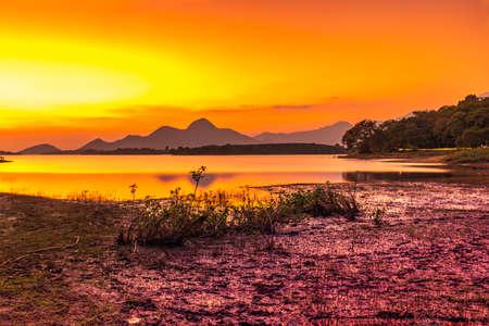 Beautiful Sunset view,at Kava Palakkad,Kerala India.Behind the Malampuzha Dam, Kava is a small village Palakkad district of Kerala state India.