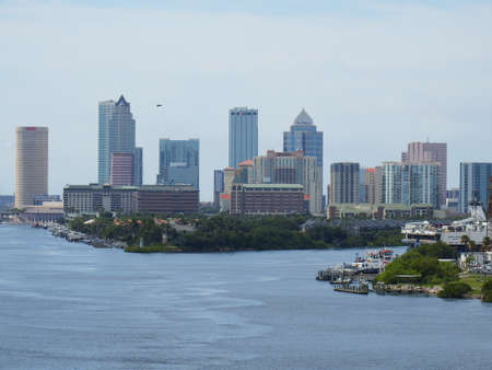 Port of Tampa, Florida, Tampa skyline on a sunny June afternoon