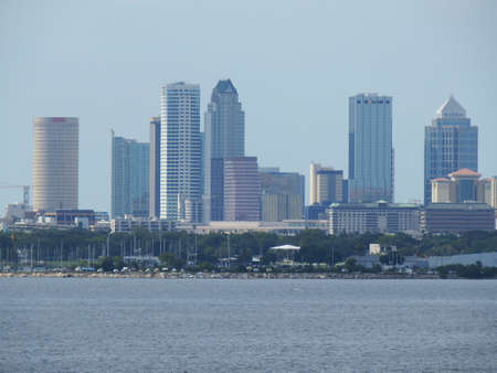 Port of Tampa, Florida, Tampa skyline on the water on a sunny June afternoon