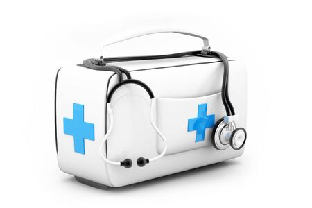 Modern First aid kit.3d render