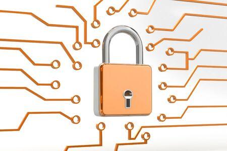 Internet security.3d render Stock Photo