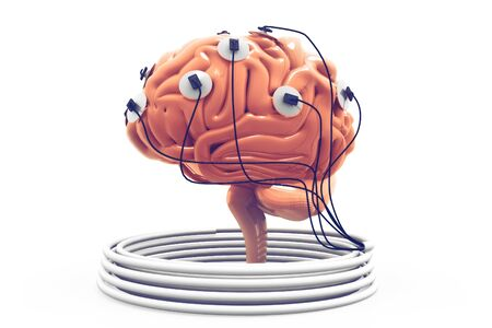 Power of the human mind. Brain analysis concept. Brain connected to the cables.3d render