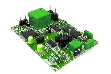 Electronic circuit board. 3d render