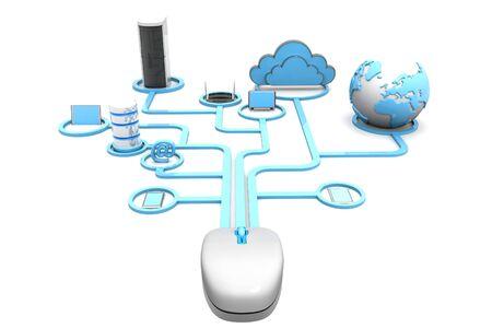 Cloud computing devices. 3d render