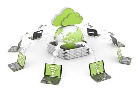 Cloud computer network. 3d render