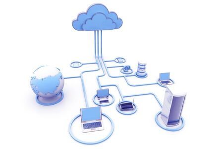 Cloud computing devices. 3d render Stock Photo