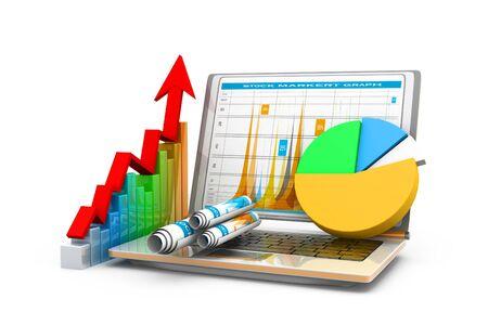 Gráfico de negocio con gráfico. Representación 3d Foto de archivo