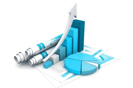 Business graph with chart. 3d rendering