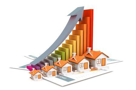 Economical Real estate chart. 3d rendering