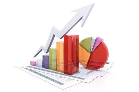 Stock market graph.3d render