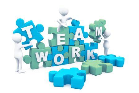 Business teamwork building puzzles together. 3d render