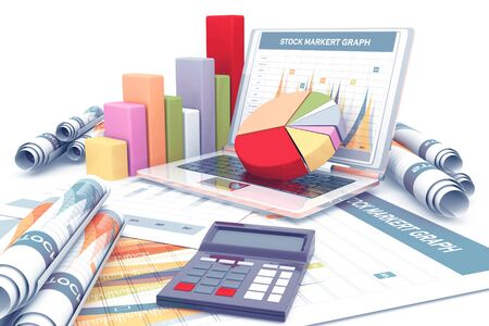 Business graph and chart. 3d render