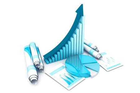 Business graph.3d render