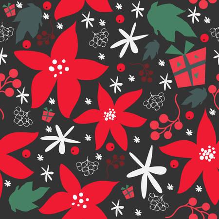 ポインセチアのクリスマスパターン、伝統的なシームレスなパターン  イラスト・ベクター素材