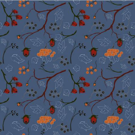 森林果実シームレス パターン、青色の背景色  イラスト・ベクター素材