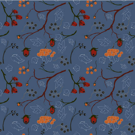 Seamless Pattern Of Forest Berries, blue background Illustration