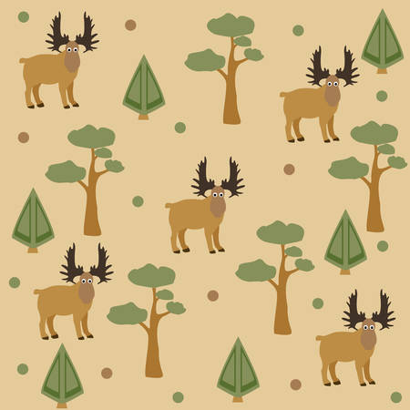 Children Pattern Of Friendly Moose Ilustração