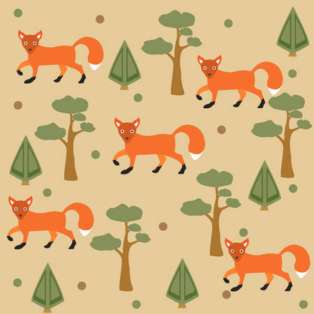 Seamless pattern of orange fox, pine tree and spruce, brown background. Vector Illustration. SummerFall Collection