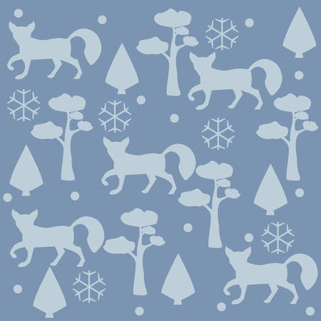 Fox Pattern with pines, spruce tees and snowflakes. Vector Illustration. WinterMerry Christmas Collection