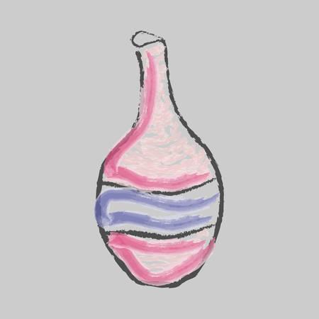 Vector Illustration of Bottle of wine. Grey Background, watercolor. Illustration
