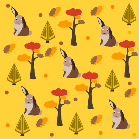 BunnyHare Pattern with pine, spruce trees and leafs. AutumnFall Collection. Vector Illustration. Illustration