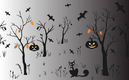 Halloween Background with silhouettes. Seamless Pattern. Halloween Vector Card, texture or background. Vector Art. Holiday Card. For cards, postcards, backgrounds, wallpaper, wrapping, web, etc. Illustration