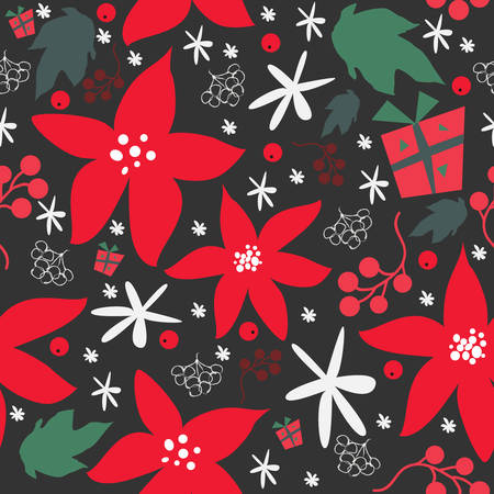 Seamless floral pattern of hand drawn poinsettia, berries, leafs, and snowflakes for WinterFallMerry Christmas Collection.