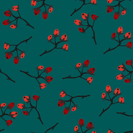 Red Berry Christmas Pattern, teal background. Hand Drawn. Whimsical Modern Style. WinterMerry Christmas Collection. Vector Illustration. For wallpapers, cards, backgrounds, textiles, covers, etc. Иллюстрация