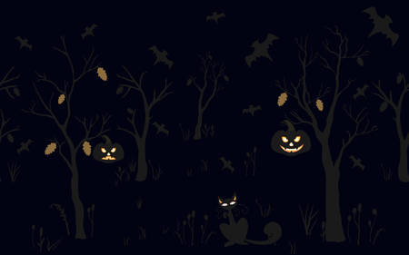 halloween background: Halloween Background with silhouettes. Seamless Pattern. Halloween Vector Card, texture or background. Vector Art. Illustration
