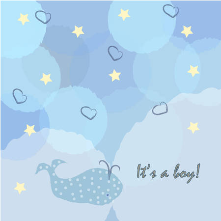 Baby boy birth announcement for baby shower invitation card. Illustration