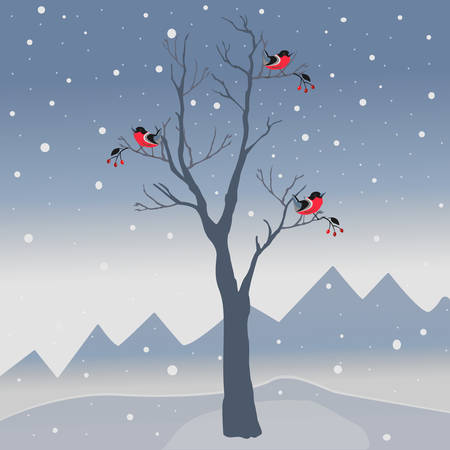 Winter tree with few berries and red birds on a cold looking with mountains and dark snowy sky. Ilustrace