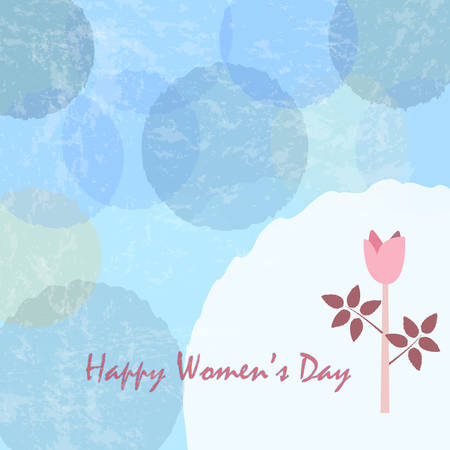 Happy Womans Day Card. Day Card poster with cute flower of Rose in pastel colors of blue. Modern, delicate design.Vector Illustration. Vintage Style