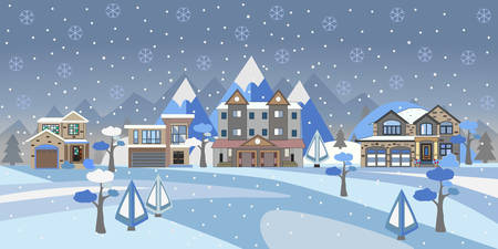 Winter Snowy Landscape with houses, trees and mountains. Suburban Buildings in Winter Landscape. Flat Vector Illustration. Detailed House Design