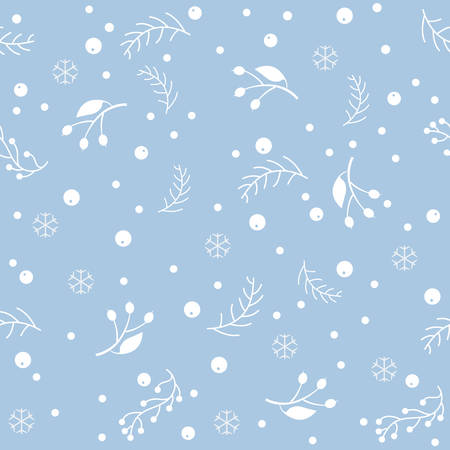 comfortable: Seamless pattern with berries and spruce branches on a blue background. Vector illustration.Winter Collection