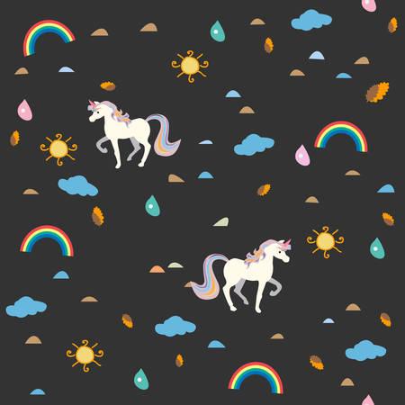 Unicorn Seamless Pattern. Rainbow, Sun, drops of rain