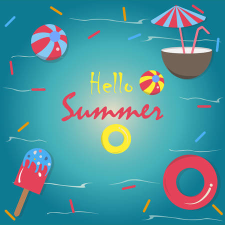 Hello Summer Vector Illustration. Summer banner vector illustration, Pool toys, red rubber ring, ice cream, coconut drink with umbrella, and ball floating in the sea/pool with waves. Colorful Design