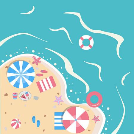 cartoon umbrella: Summer Vector Illustration. Seashore from top view.