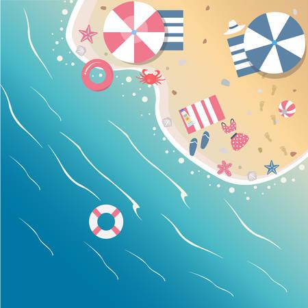 Summer Vector Illustration. Seashore from top view.