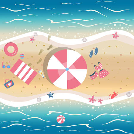 Summer Vector Illustration. Seashore from top view. Background template. For cards, postcards, posters, banners.Crab stealing food, sunscreen, clothes of male and female, flip flops, seashell, etc.