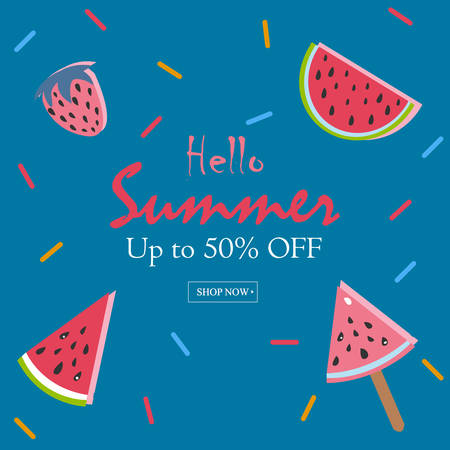 rainbow colors: Summer Vector Illustration. Summer Sale Card. Up to 50% Off. Watermelon, ice cream, strawberry with rainbow sprinkles. Summer Sale.