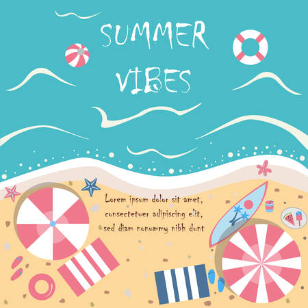 Summer Vector Illustration. Seashore from top view. Background template.