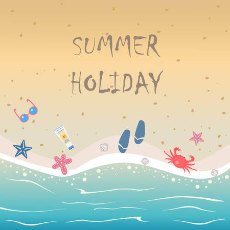 Summer Vector Illustration. Seashore from top view. Background template. For cards, postcards, posters, banners.Crab, seashells, sunscreen,sunglasses, flip flops, starfish.