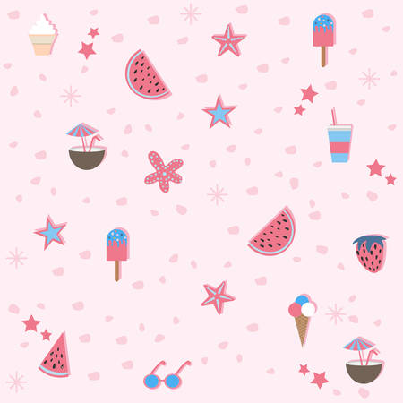 Summer Seamless Pattern. Stylized Summer Elements with shadows. Vector Illustration. Drinks and Food. Summer Collection.