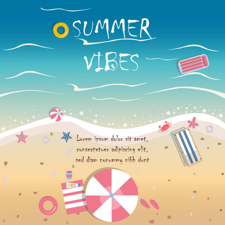 cartoon umbrella: Summer Vector Illustration. Seashore from top view. Background template. For cards, postcards, posters, banners, etc.