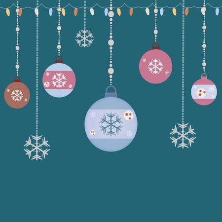 Hanging Decorative Christmas Set. Christmas Ball Ornaments with snowflakes Illustration