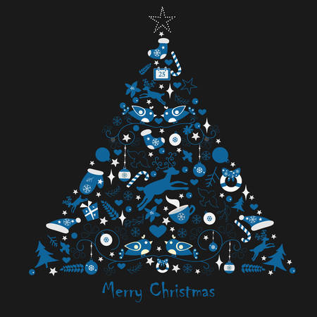 Merry Christmas Tree consisting if merry christmas and winter elements. Winter/Merry Christas collection