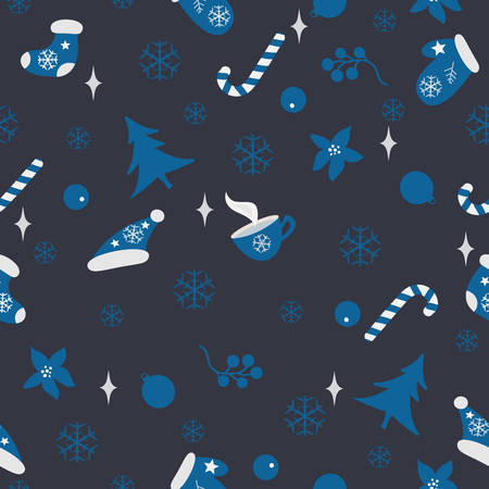 Winter Seamless Pattern. Merry Christmas, New Year, Winter Themes. winter elements Illusztráció